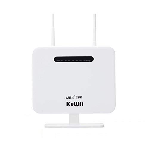 Router inalámbrico, KuWFi 300Mbps Desbloqueado 4G LTE WiFi Mobile Modem 3G 4G Ap WiFi Router WFi Hotspot con Tarjeta SIM Solt Support Trabajar con Movistar/Orange/Yoigo/Vodafone Tarjeta SIM