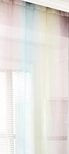 Eenvoudige Europese gordijnen voor woonkamer Streep verduisterende gordijnen voor slaapkamer Chiffon Teryleen voor eetkamer Gordijngaren, blauw roze tule, B100cmxH130cm