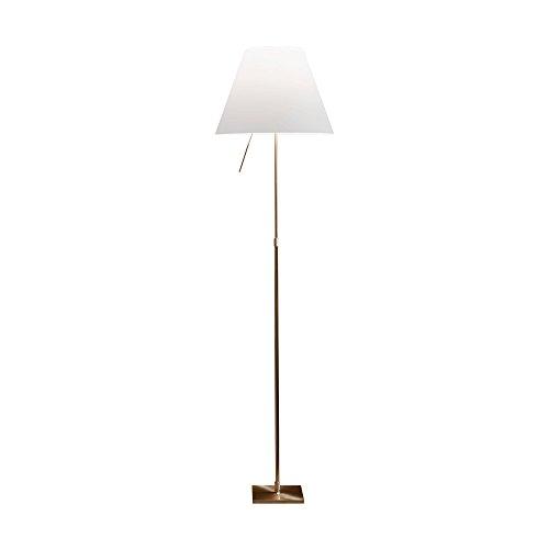 Lámpara de pie Costanza de latón, color blanco, con regulador de intensidad, altura 120-160 cm, diámetro 40 cm