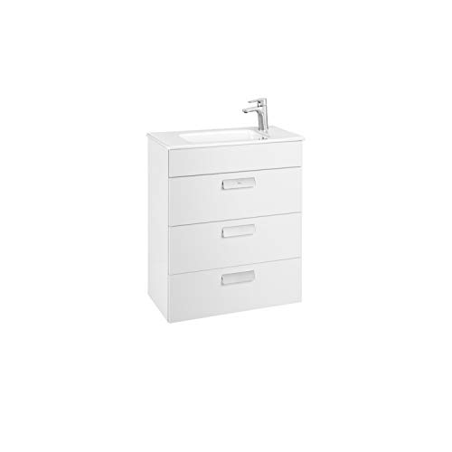 Lavabo + Mueble base 3 cajones Unik Debba Roca, 60 x 36 x 72 centímetros, color blanco (Referencia: A857126806)