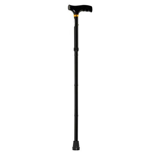 Homecraft Gehstock, zusammenklappbar, mit Holzgriff, leicht, verstellbar, für Gleichgewicht, Mobilitätshilfe, Schwarz, 775-875 mm