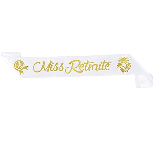 Echarpe Miss Retraite Bande Satin Sash Ruban en Polyester Ceinture Décoration Party Vive la Retraite Cadeau Femme pour Fêter Le Départ en Retraite