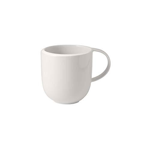 Villeroy & Boch - NewMoon Becher mit Henkel, moderne Tasse für Tee und Kaffee, Premium Porzellan, weiß, spülmaschinengeeignet