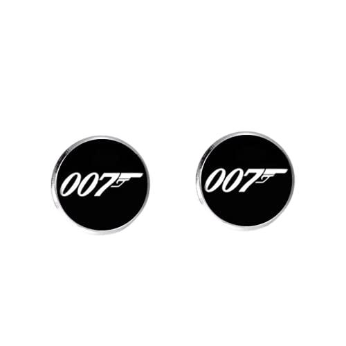 James Bond 007 Boucles d'oreilles en cabochon en verre pour homme Style minimaliste Noir/blanc
