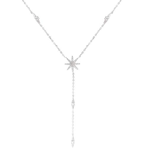 Bluesteer Pendant 925 Sterling Chain Necklace Maple Leaf Shape AAA Zircon Shiny Jewelry for Women Mother Gift,Platinum,40cm