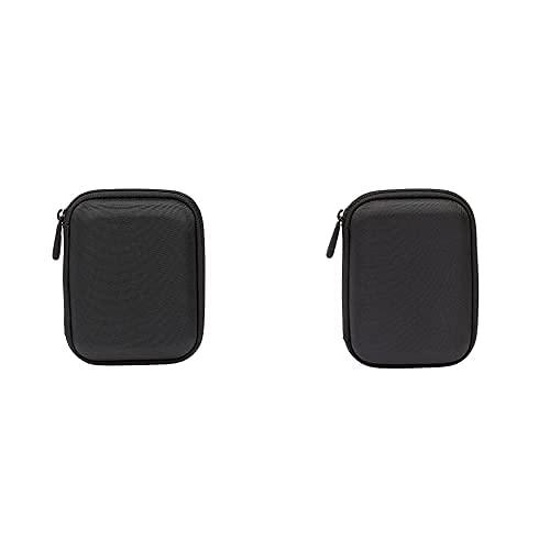 AmazonBasics - Funda para Disco Duro Externo, Color Negro, 13.2 x 10.5 x 3.8 cm + Funda de Disco Duro, Color Negro y Naranja