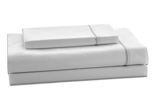 ESTELIA - Juego de sábanas satén Color Blanco-Perla - Cama de 150...