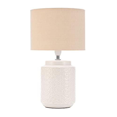 Pauleen Charming Bloom 48220 - Lámpara de mesa (20 W, hecha a mano, estilo bohemio, tela, cerámica, E14), color beige