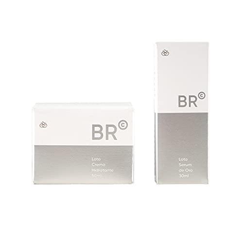 Set Crema hidratante facial+Serum facial|BR Cosmetics| Acido hialuronico | Loto crema hidratante ácido hialurónico 50ml |Loto serum de oro con células madres 30ml |Crema antiarrugas.