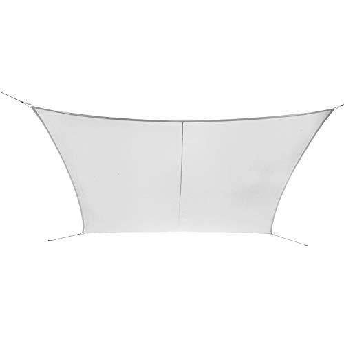 Ribelli Sonnensegel - mit Spannseilen zur Befestigung - Alternative zum Sonnenschirm Größen bis 8 Meter - Eisenringe für erhöhte Stabilität - UV30+ (5x8m, Weiß)