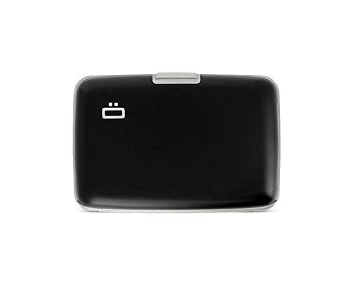 Ögon Smart Wallets - Aluminium Geldbörse Stockholm - RFID-Schutz Kartenetui - Bis zu 10 Karten und Banknoten (Schwarz / Graues Interieur)