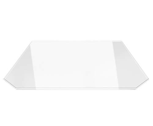 Sechseck 100x120cm - Funkenschutzplatte Kaminbodenplatte Glasplatte f.Ofen Ofenunterlage Kaminofen (Sechseck 100x120cm ohne Silikon-Dichtung)