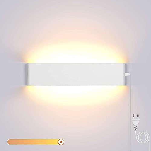 Lightess 18W 40CM Brillo Ajustable Apliques de Pared LED Lámpara de Pared Interior Luz Moderna Agradable Iluminación para Dormitorio, Escalera, Blanco, 3000K Blanco Cálido, Con Interruptor