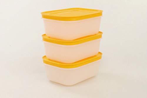 Tupperware Gefrier-Behälter 450 ml weiß-orange EIS-Kristall (3) Eiskristall 34473