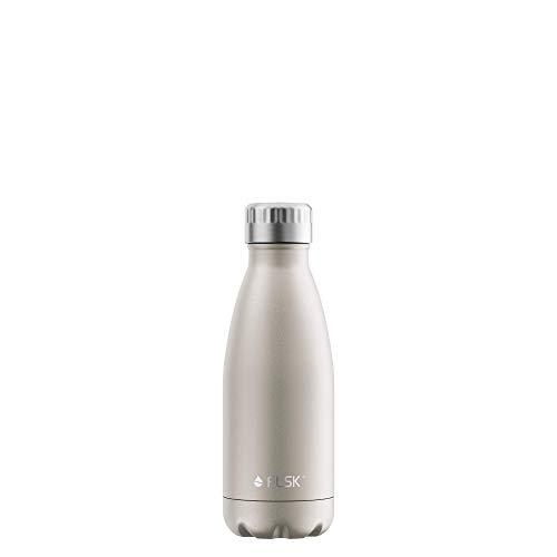 FLSK Das Original New Edition Edelstahl Trinkflasche – Kohlensäure geeignet | Die Isolierflasche hält 18 Stunden heiß und 24 Stunden kalt | ohne BPA und rostfrei, Champagne, 350ml