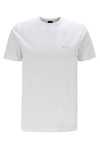 Boss Tee Curved, Camiseta Hombre, Blanco (Open White 112), X-Small
