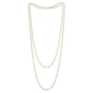 1920's Charleston Flapper Pearl Necklace 72' Long - Perfect For Great Gatsby Themed Fancy Dress Accessory.