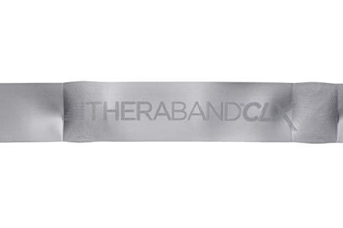 TheraBand CLX Banda de resistencia sin látex, 11lazos para pilates, gimnasia en casa, fisioterapia profesional y equipamiento de gimnasia, 2,5m, plateado, superpesado avanzado nivel2