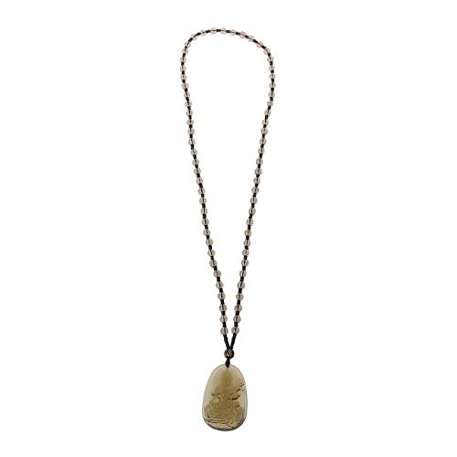 XIGAWAY Collares colgantes de amuleto de la suerte de Buda, talla obsidiana natural de cuarzo amarillo