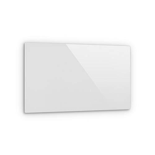 KLARSTEIN Crystal Wall - Calefactor infrarrojo, Potencia 600 W, 12 m², Instalación en la Pared, Apagado automático, Termostato, Protección IP54, 100 x 60 cm, Vidrio de Seguridad endurecido, Blanco