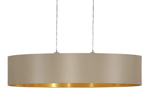 EGLO Pendellampe Maserlo, 2 flammige Textil Pendelleuchte, Hängeleuchte oval aus Stahl und Stoff, Farbe: Nickel matt, taupe, gold, Fassung: E27, L: 100 cm