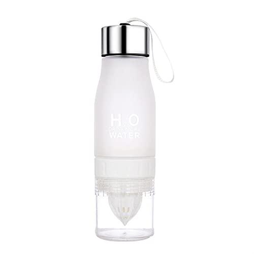 TYLC 650 ml Botella de limón Ligero al Aire Libre del Deporte de la Fruta de la Fruta Botellas de Agua de la Pulpa (Color : White)