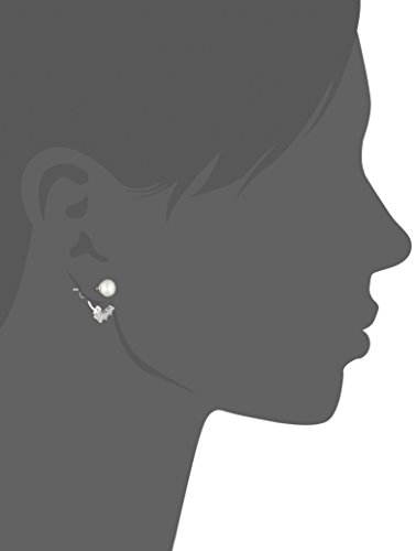 Platinum-Plated Sterling Pearl with White Earring Jackets