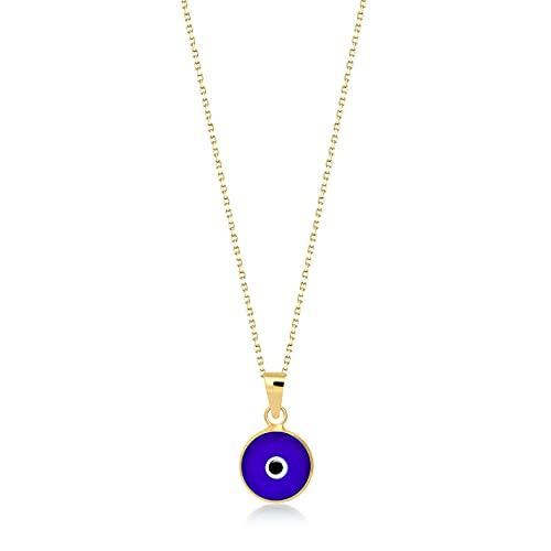Damen Mädchen Halskette aus 14 Karat - 585 Echt Gelbgold mit Goldanhänger Auge Amulett gegen den Bösen Blick, Eyeanhänger, Nazar Boncuk, Geschenk für Geburtstag Weihnachten - Kette 45 cm