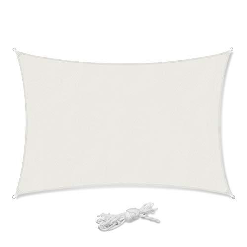 Sekey Sonnensegel Sonnenschutz Rechteckiges Polyester Windschutz Wetterschutz Wasserabweisend Imprägniert 95% UV Schutz, Überlegene Reißfestigkeit für Outdoor mit Seilen, Weiß 2×4m
