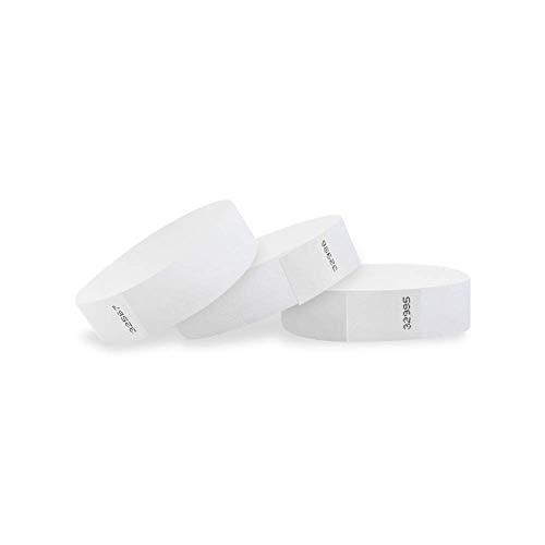 Wristco bianco 3/10,2cm Tyvek Wristbands 2500 Count White