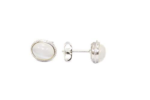 PH - Pendientes de tuerca para mujer, plata de ley 925, cabujón blanco piedra lunar gema P 110
