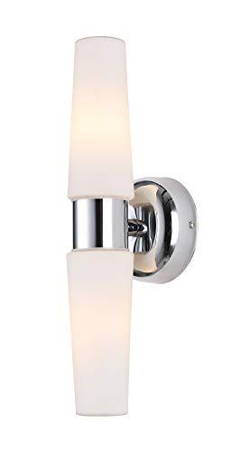 BETLING Wandlampe IP44 Badlampe Wandleuchte Flurlampe Spiegelleuchte Schmink Eitelkeit Beleuchtung, Chrom mit Opalglas