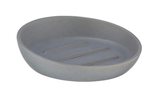 WENKO Seifenablage Badi Grau Keramik - Seifenschale, Keramik, 11.5 x 3 x 11.5 cm, Grau