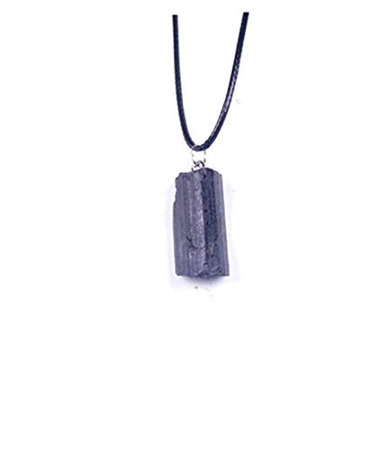 Sygjal Natural Black Tourmaline Retro Raw Gemstone Necklace Pendant Crystal Jet Stone Artifical Crystal Necklace Stone