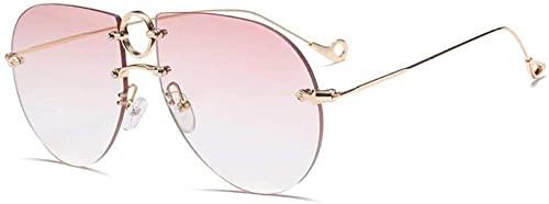 Gafas de sol de moda rosa plata gafas de sol sin marco personalidad caja grande gafas de sol cubierta cara calle, Pink,