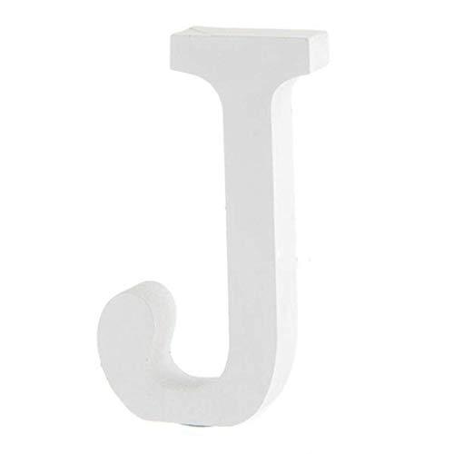 BIGBOBA Holz Buchstaben A-Z Retro DIY Dekoration für Home Coffee Shop Kleidung Store Geburtstag Party Hochzeit Weiß, Höhe 8 cm, J