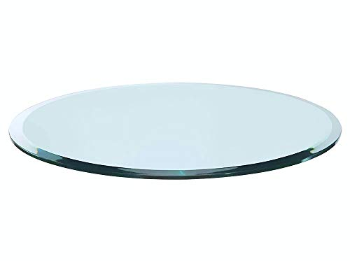 "Bassett Glass | 30"" Round Tempered Glass Table Top - 1/2"" Thick - Beveled Polished Edge"