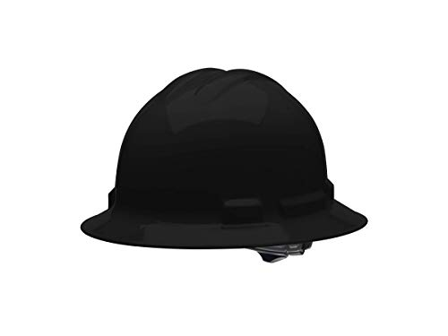 Malta Dynamics 4 pt Full Brim Hard Hat Safety Helmet with Poly Brow Pad and Flexible Attachment Points OSHA/ANSI Compliant Black