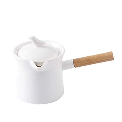 Jarra Leche Frascos de alimentos de cerámica de cerámica de color sólido con asas y tapas, mini jarras de leche y teteras de flores, tarros de gran capacidad para elaboración de café Jarrita Leche
