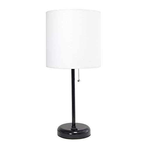 LimeLights Black Stick Lamp with Outlet and Fabric Shade