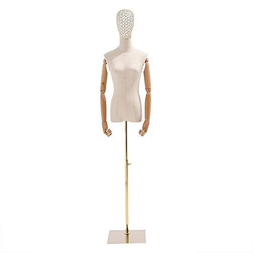 SCJ Torso de Cuerpo de maniquí Femenino Blanco con Brazos de Madera y Base Cuadrada, Medio maniquí de Forma Femenina, Cuerpo de Torso de maniquí, Altura Ajustable (Color: Dorado, Talla: M)