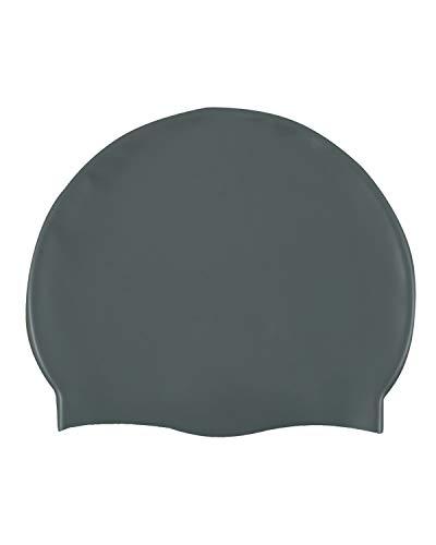 EUROXANTY Cuffia da nuoto in silicone | Cuffia da bagno | Adattabile | Alta elasticità | Unisex | Tutti i tipi di capelli (grigio)