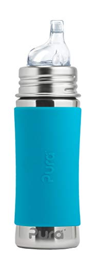 Pura Kiki 11oz/325ml Stainless Steel Sippy Cup Bottle w/ Sleeve, Plastic-Free, MadeSafe Certified, Medical-Grade XL Silicone Sipper Spout Fast Flow Rate for Kids, Toddlers, Babies & Infant - Aqua