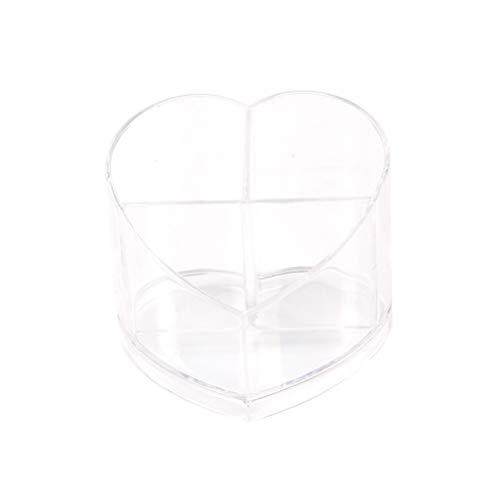 Récipient cosmétique transparent de boîte de rangement cosmétique d'organisateur acrylique de maquillage de forme de coeur
