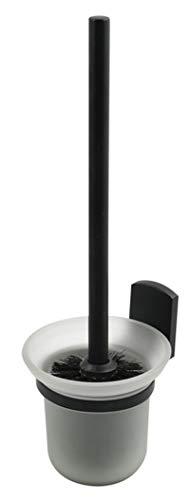 """Spirella WC Garnitur Toilettenbürste Bürste """"Taku"""" aus hochwertigem Zink/Glas Toilettenbürstenhalter zur Wandmontage und zum kleben Schwarz matt"""