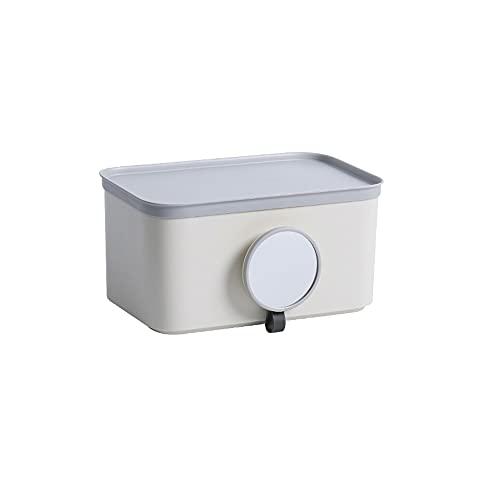 Sxcespp Caja de pañuelos de papel higiénico para colgar en la pared, soporte de papel higiénico autoadhesivo sin perforaciones para baño y baño, caja de almacenamiento para estantes del hogar, adecuad