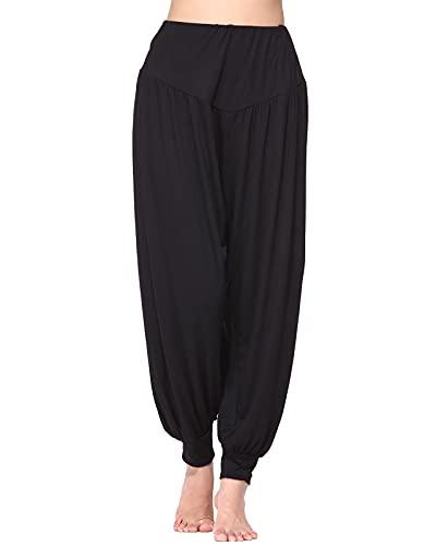 Wtiea Yogahose Damen Haremshose Weiche Jogginghose Elastisch Modal Baumwolle Lange Hose,A-schwarz,Gr.M
