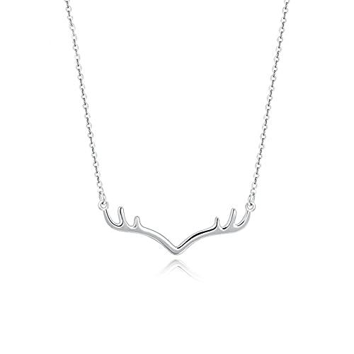 YJZW Platino Pt950 Collar De Asta De Ciervo, Collar De Joyería para Mujer, Collar con Colgante Y Bonito De Asta Ajustable(44 + 3 Cm / 17 + 1,1in)