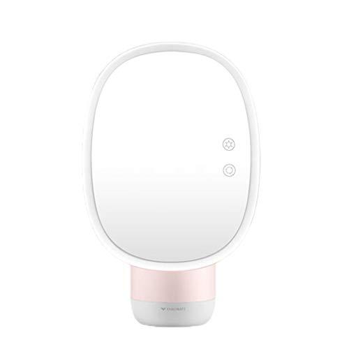 YYF Tragen LED Schminkspiegel Lichtbefüllter, wiederaufladbarer Desktop-Spiegel beidseitiger befeuchtender Schminkspiegel Einfach (Color : Pink)