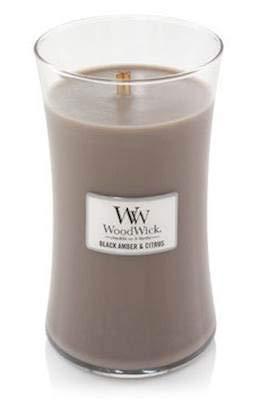 WoodWick Duftkerze im Glas, Duft: Black Amber Citrus, 625 g, Brenndauer 180 Stunden